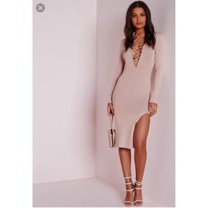 Missguided Pink Lace Up Knitted Sweater Dress